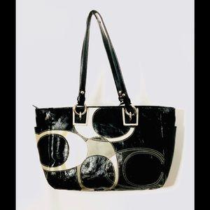 Coach Patent Leather Black Beige and Cream Purse